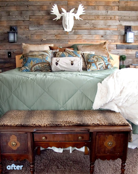 A beautiful reclaimed wood wall makeover at betterafter.net