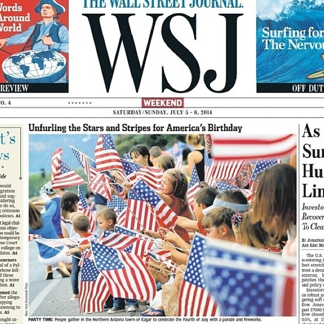Check it out, my tiny little hometown made the front page of the Wall Street Journal! #nothinglikeasmalltownfourthofjuly #eagararizona