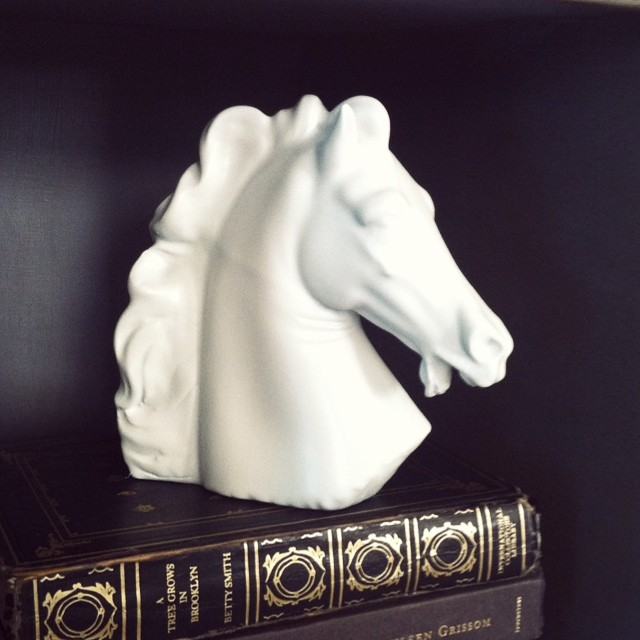 My $5 thrift-store horse head looks pretty snazzy now that he's painted white.  In other news, last day to win yourself some free tools on the blog! #linkinprofile