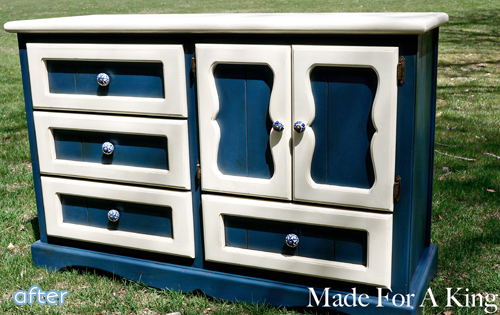 blue and cream dresser