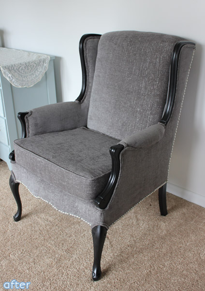 A classy and sophisticated wingback chair makeover at betterafter.net