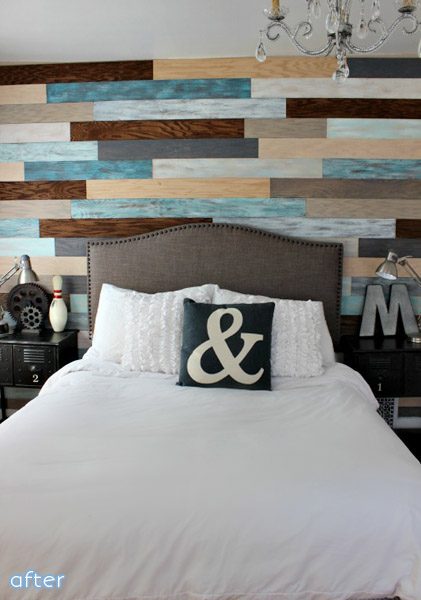 Check out the beautifully bold plank wall makeover at betterafter.net