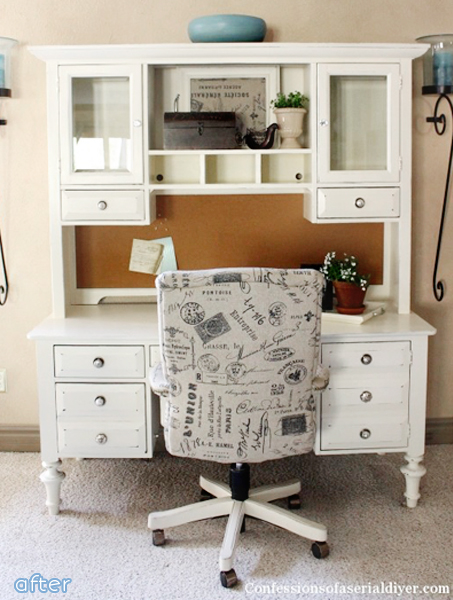 Another win by white! Don't miss this desk and chair makeover at betterafter.net