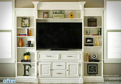 "See this lovely ""built-in"" entertainment center makeover at betterafter.net"