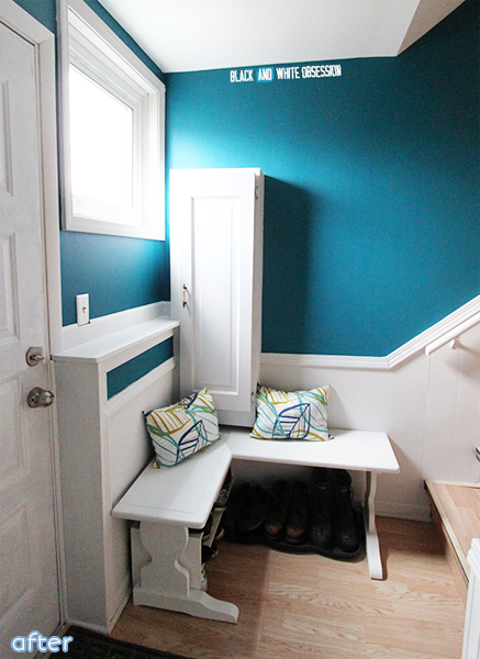 A bright blue entry way makeover complete with an extra table makeover at betterafter.net