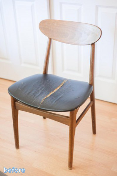 A simple yet gorgeous gold dipped chair makeover at betterafter.net