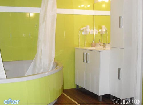 What a bright and fun bathroom makeover at betterafter.net