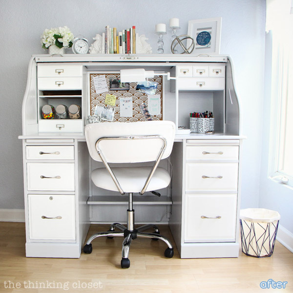 A Beautiful Roll Top Desk Makeover With Pop Of Color At Betterafter Net