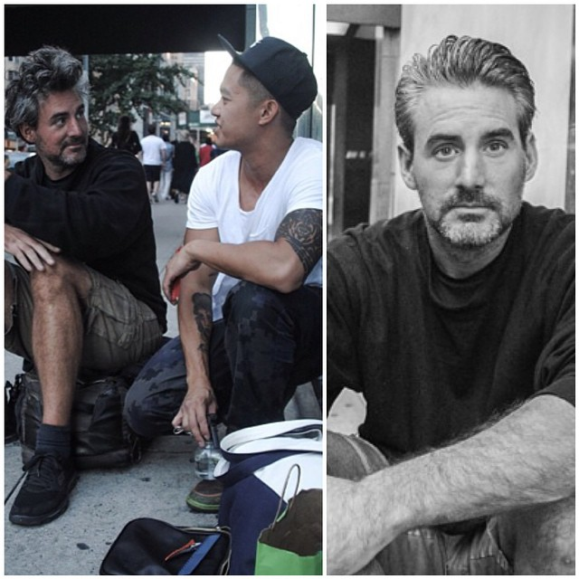 Here's a before and after that I love. The man in the hat is @markbustos. He is a hairstylist who spends his free time giving haircuts to the homeless. Such a simple way to make a huge difference to a person! He restores my faith in humanity. #BeAwesomeToSomebody
