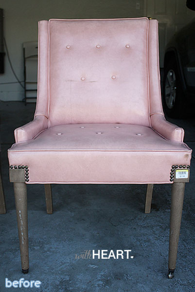 pink vinyl chair makeover before | betterafter.net