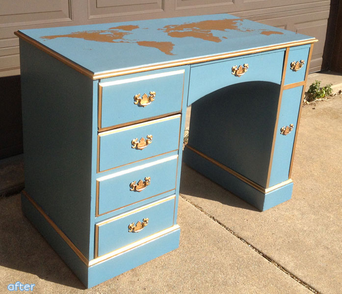 blue and gold world map desk makeover | betterafter.net