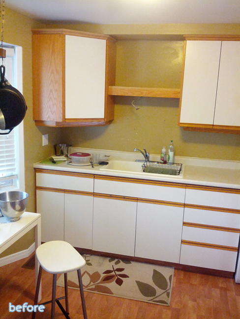 white and oak kitchen before