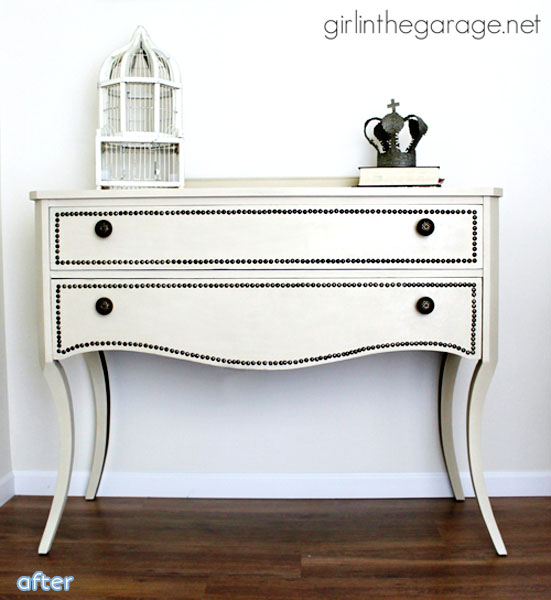 cream nailhead vanity makeover | betterafter.net