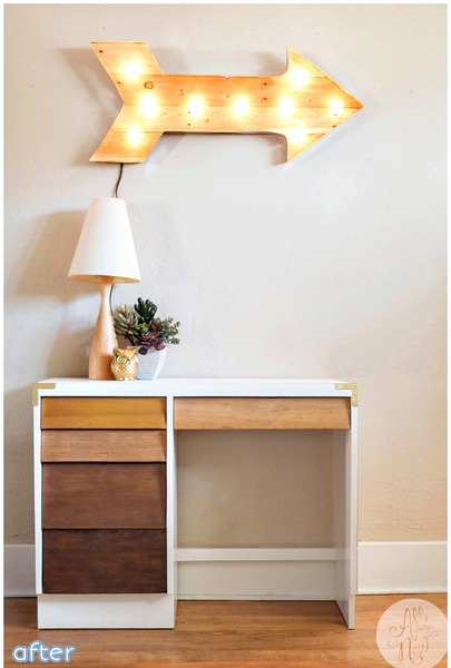Desk makeover with ombre stain. | betterafter.net