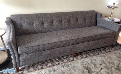 gray upholstered couch makeover | betterafter.net