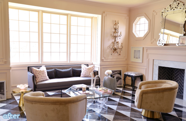 Light pink living room makeover from Bijou & Boheme | betterafter.net