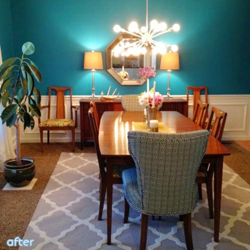 bright aqua - dining room - makeover   betterafter.net