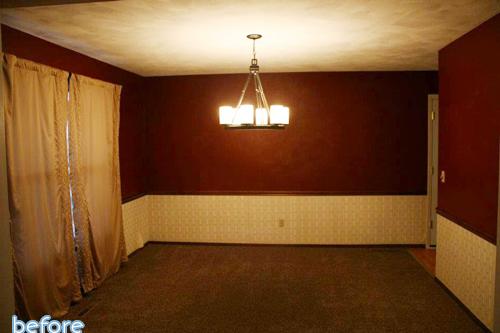 dark, burgundy dining room before