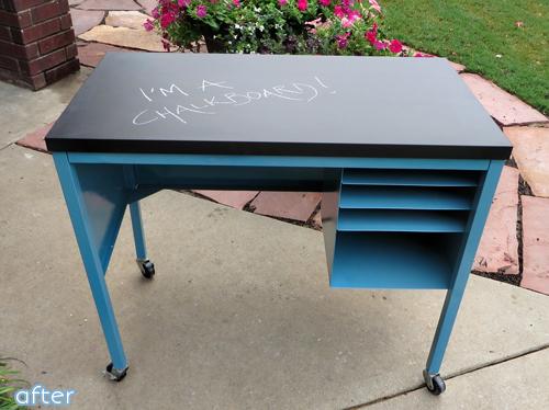 blue - chalkboard top - desk - makeover |betterafter.net