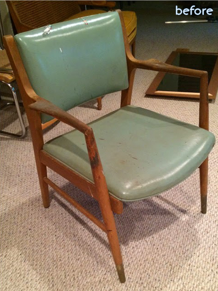 midcentury green chair before