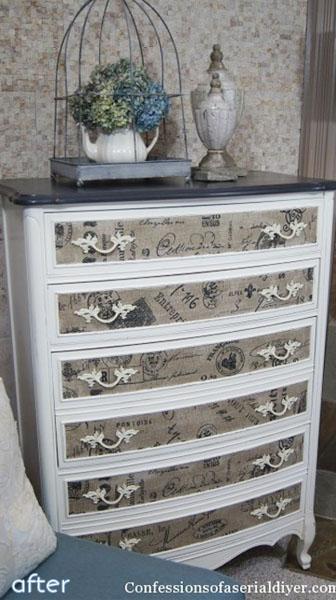Cream Dresser - Fabric Inlay  - Makeover |betterafter.net