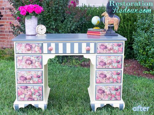 Floral - Desk - Decoupage - Makeover |betterafter.net
