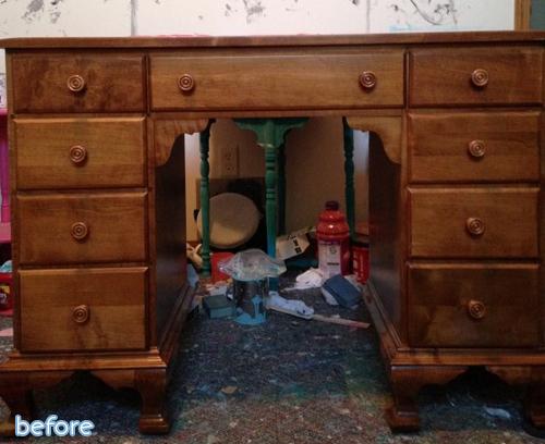brown desk before