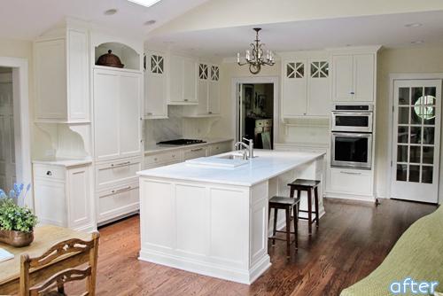 White kitchen - wood floor - makeover |betterafter.net