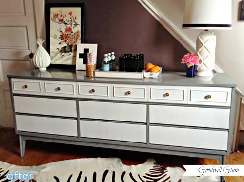 gray, white, two-toned, dresser, makeover | betterafter.net