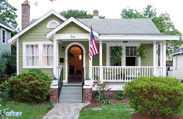 green cottage exterior after