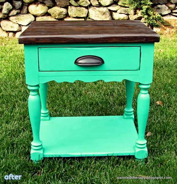 green - side table - wood top |betterafter.net