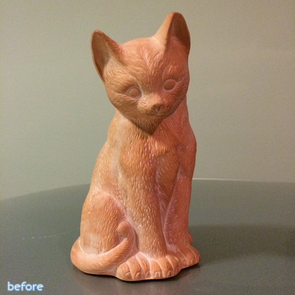 halloween cat sculpture before