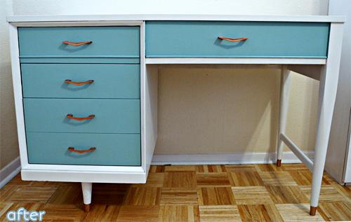 MCM Desk - white - aqua - makeover | betterafter.net