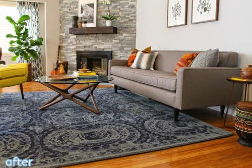 modern living room - gray brick - makeover |betterafter.net