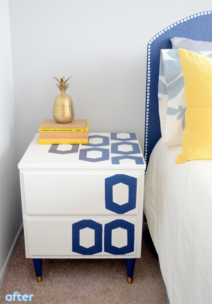 white - blue - graphic - side table | betterafter.net