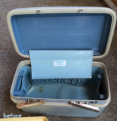 vintage train case before