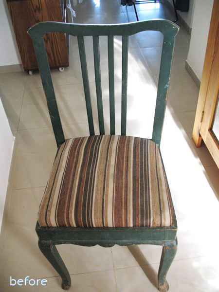 sad striped chair before