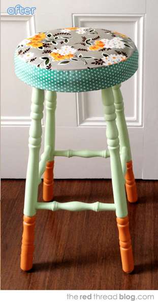colorful stool makeover after
