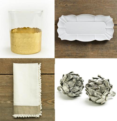 linen and boxwoods tumbler artichokes napkin platter