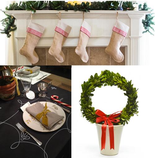 linens and boxwoods stockings runner wreath