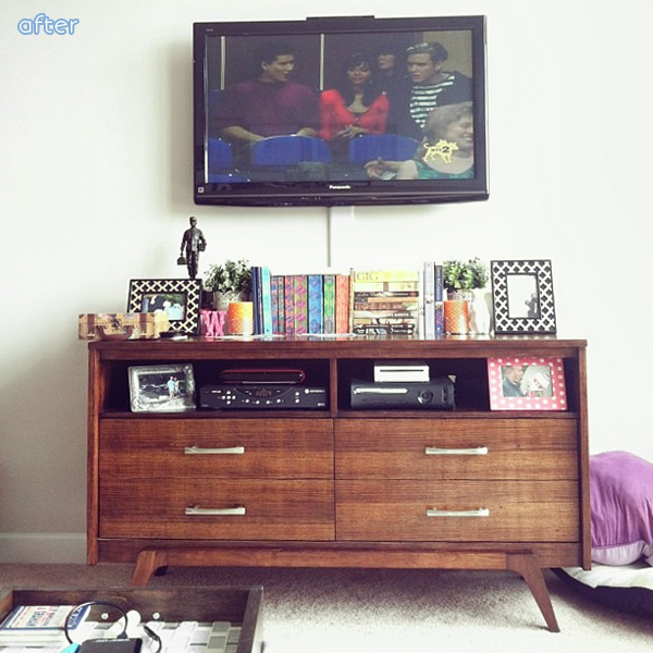 stained mcm dresser makeover into media stand  | betterafter.net