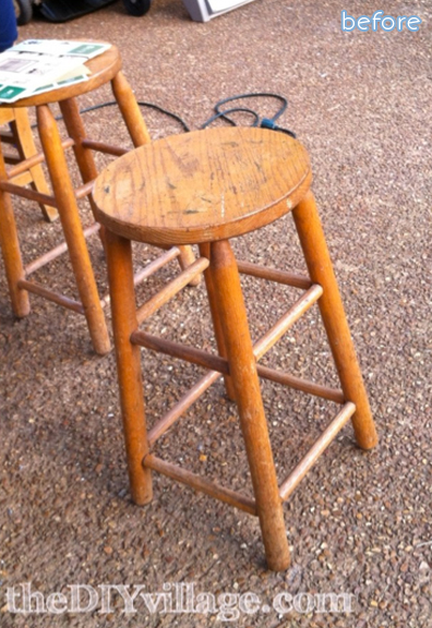 numbered stool makeover before