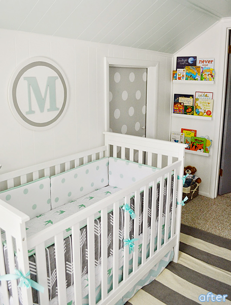 nursery makeover after white aqua gray