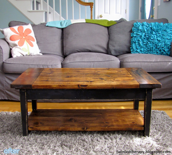 Wood - Stained  - Top - Piano to Coffee Table - Makeover | betterafter.net
