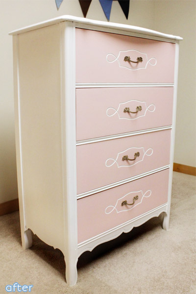 Pink - White - Dresser - Makeover | betterafter.net