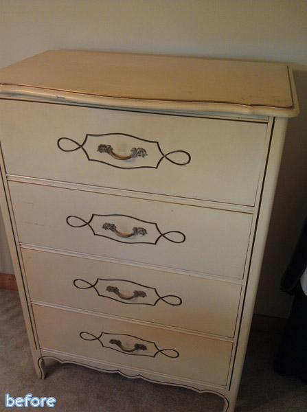 cream dresser before