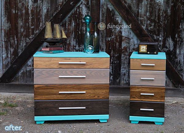 Stained - Ombre - Dressers - Aqua - Makeover | Betterafter.net