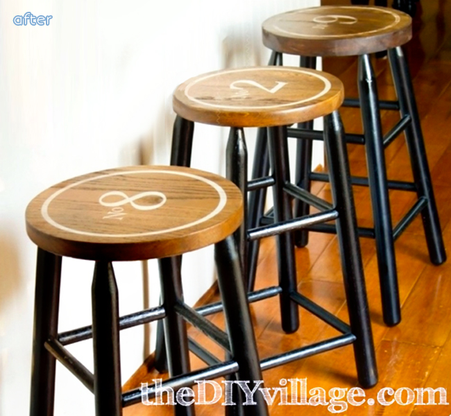 stool makeover with numbers after