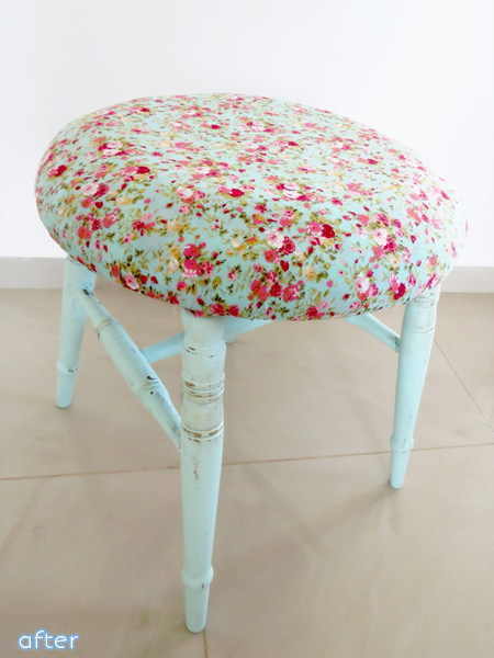 Aqua Stool - Floral Fabric -  Makeover | betterafter.net