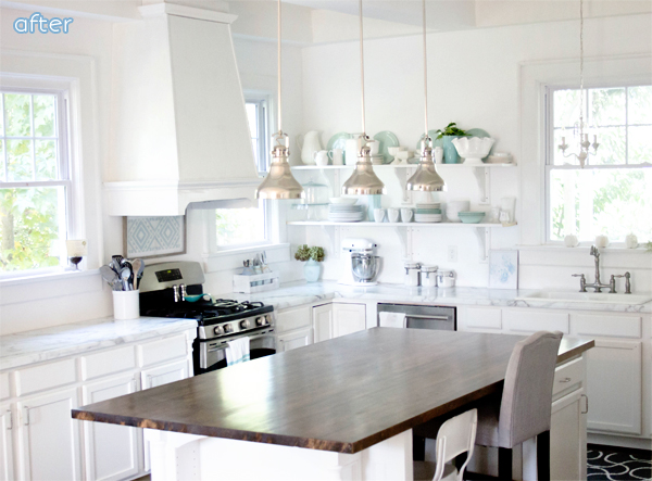 dream kitchen makeover, white with aqua dishes | betterafter.net